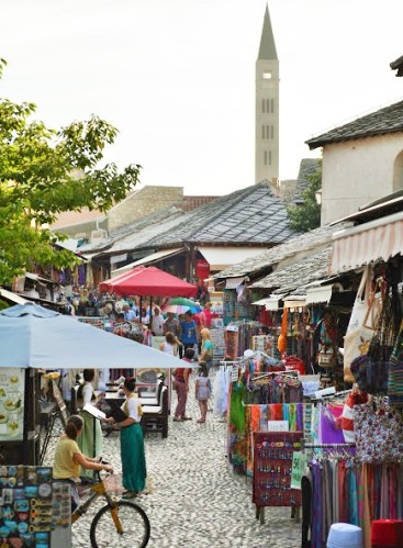 Stari Most Mostar Arch Bridge Bazar Artisan Shops